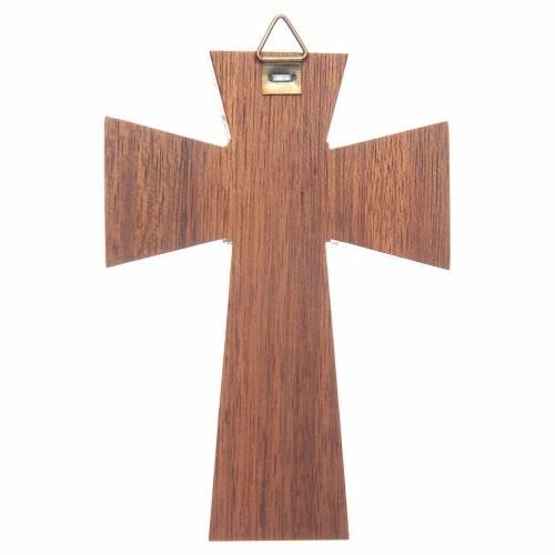 Crucifix bois de noix, corps argenté, 10 cm s2