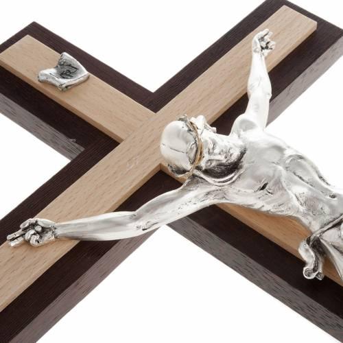 Crucifix bois de wengè et hêtre corps en mét s5