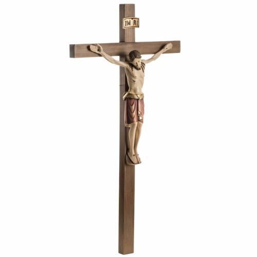 Crucifix bois peint Corps style Saint Damien s7