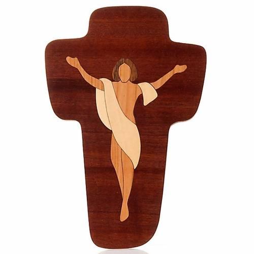 Crucifix Christ Ressuscité Azur bois s1