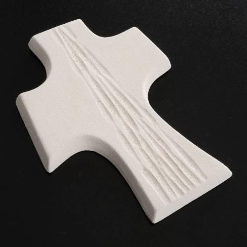 Crucifix Confirmation stylisé argile blanche cm 15 s4