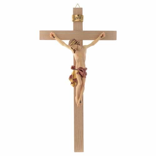 Crucifix croix droite Corps de Christ veste rouge et or s1