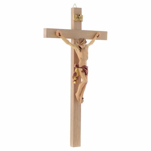 Crucifix croix droite Corps de Christ veste rouge et or s3