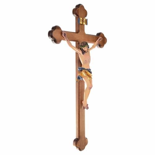 Crucifix croix trilobée bois peint Val Gardena s3