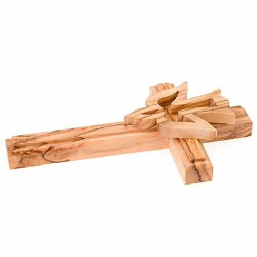 Crucifix en bois d'olivier, colombe s3
