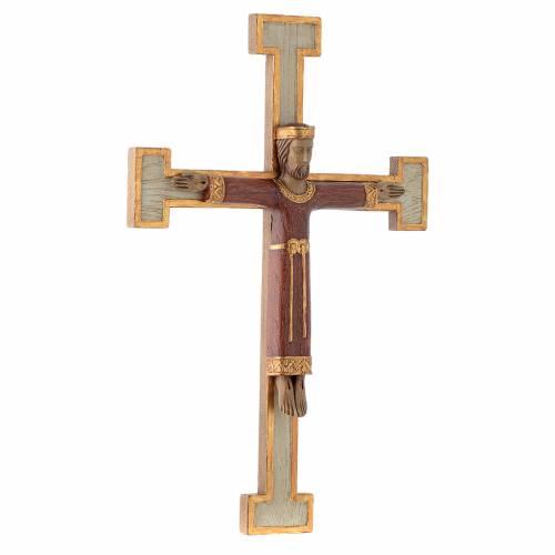 Crucifix en pierre Chist Roi en rouge croix blanche s3