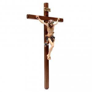 Crucifix in painted wood Leonardo style, Val Gardena s3