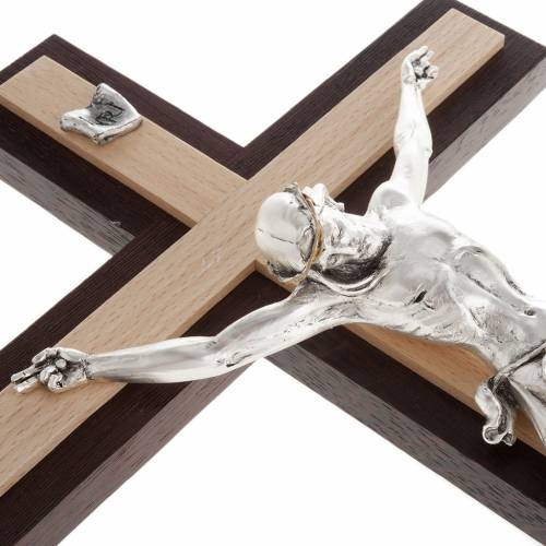 Crucifix in wenge and beech wood, silver metal body s5
