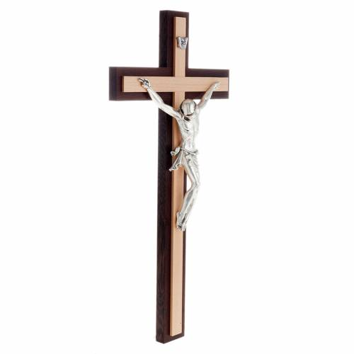 Crucifix in wenge and beech wood, silver metal body s3