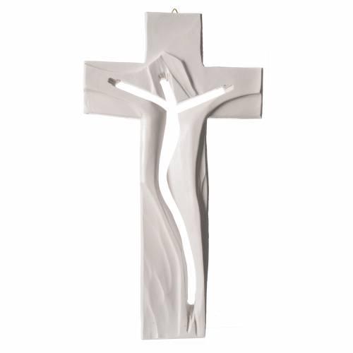 Crucifix Medjugorje résine blanche Christ Ressuscité 34x19cm s1