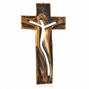 Crucifix Medjugorje résine bronzée Christ Ressuscité 34x19cm s1