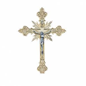 Crucifix en métal: Crucifix mural en laiton 56x40 cm