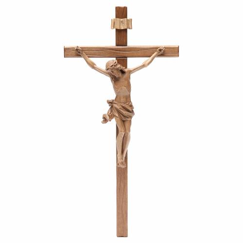 Crucifix, straight, Corpus model in patinated Valgardena wood s1