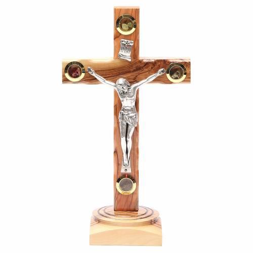 Crucifix sur base olivier Terre Sainte terre et grains 23 cm s1