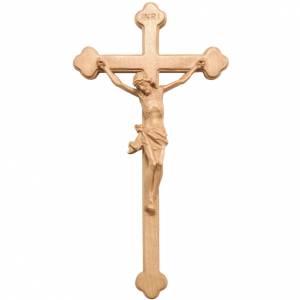 Crucifix trilobé bois patiné Valgardena s1