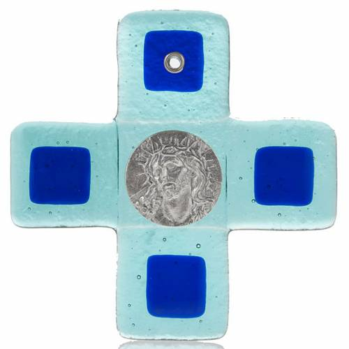 Crucifix verre Murano turquoise Visage du Christ s1