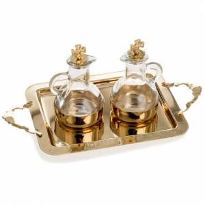 Cruet set in glass and polished brass s1