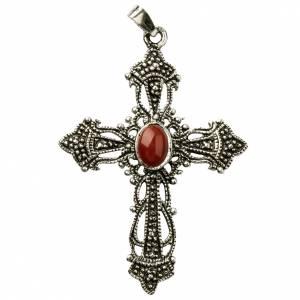 Colgantes, cruces y broches: Cruz de plata 800 con decorado