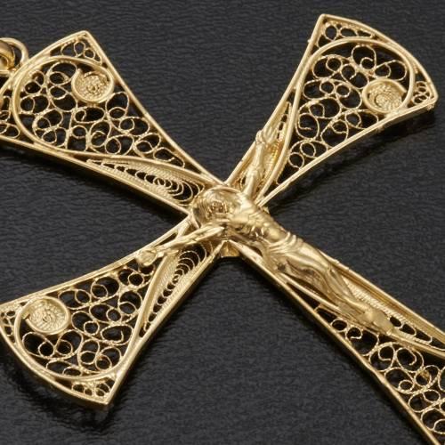Cruz filigrana de plata 800 con baño de oro, 5,47gr s3