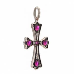 Cruz plata 925 con piedras rosadas s2