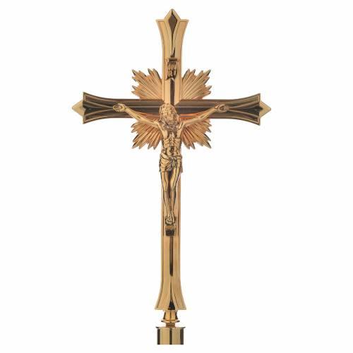 Cruz procesional con base en latón dorado s1