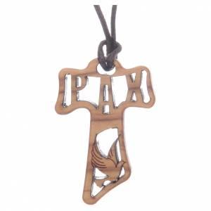 Colgantes Cruz Madera: Cruz Tau madera olivo perforada símbolos Confirmación 4 cm