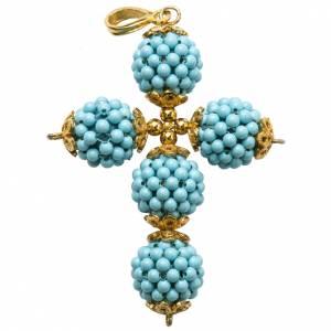 Colgantes, cruces y broches: Cruz turquesa bolitas diam. 1,5cm