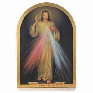 Cuadro ojival de madera pan de oro Divina Misericordia 99x69 s1