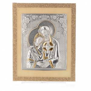 Cuadro Sagrada Familia estilo icono Swarovski oro y plata 25 x 20 cm s4
