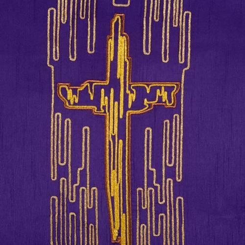 Cubre atril shantung cruz estilizada dorada s5