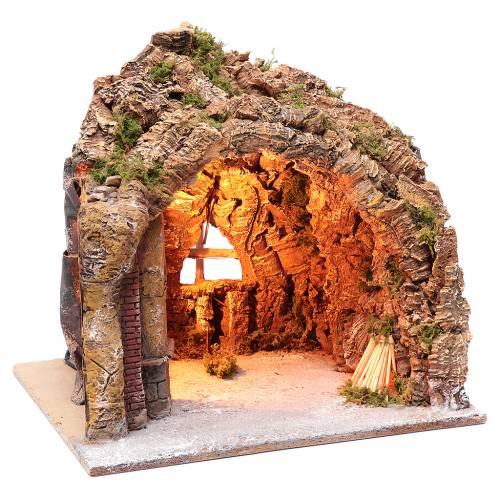 Cueva para belén de Nápoles iluminada y efecto fuego 35x40x22 cm s3