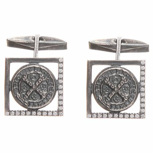 Cufflinks burnished Silver 800, St. Benedict Cross 1,7x1,7cm s1