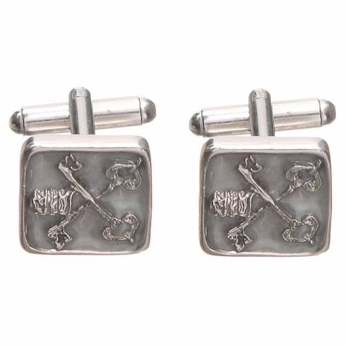 Cufflinks Silver 800 Vatican City keys 1,5x1,5cm s1