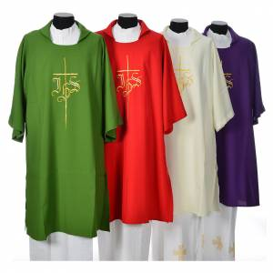 Copes, Roman Chasubles and Dalmatics: Dalmatic 100% polyester with cross and IHS symbol