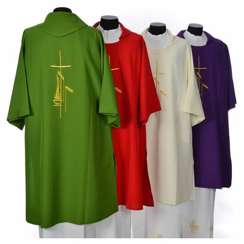 Dalmatic 100% polyester with cross, ear of wheat and flame s2