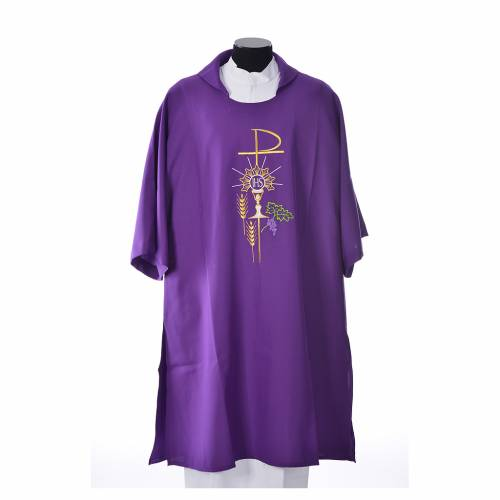 Dalmatic with embroidered Chi-Rho chalice host 100% polyester s3