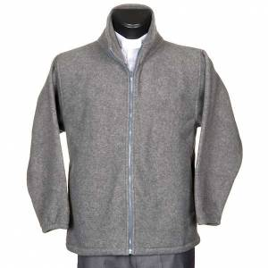 Jackets and fleece jackets: Dark grey pile jacket with zip and pockets