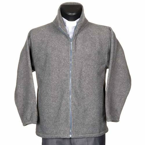 Dark grey pile jacket with zip and pockets s1