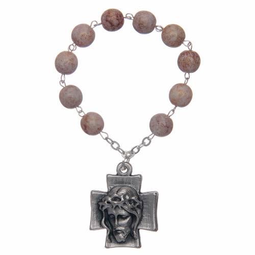 Decade rosary, imitation stone beads s1