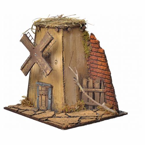 Décor crèche napolitaine moulin à vent 23x17x11cm s2