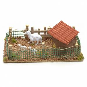 Décor de crèche, enclos avec moutons 20x12 cm s2