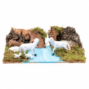Maisons, milieux, ateliers, puits: Décor pour crèche avec moutons 5x20x15 cm