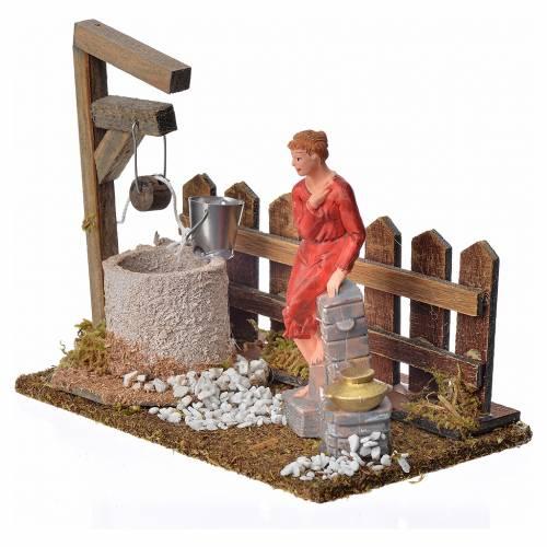 Décor puits avec femme et palissade 12x15x9 s2