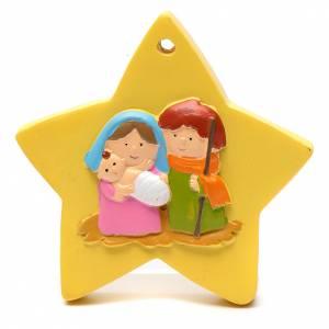 Décorations sapin bois et pvc: Décoration forme étoile nativité 8 cm
