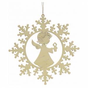 Décoration Noël étoile de neige avec ange et bougie s1