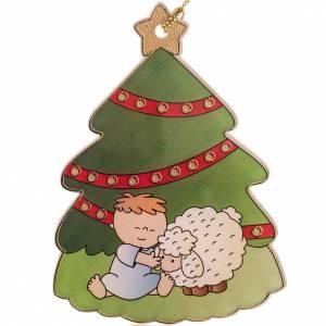 Décorations sapin bois et pvc: Décoration Sapin de Noel enfant et brebis