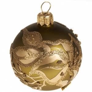 Decoro Albero Natale, palla dorata vetro 6 cm s1