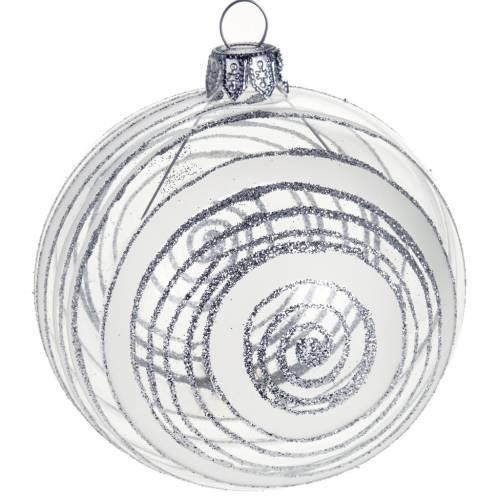 Decoro Albero Natale, palla vetro decori argento 8 cm s1