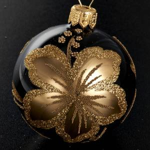 Decoro Albero Natale, palla vetro nero fiore oro 6 cm s2