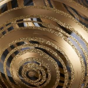 Decoro Albero Natale, palla vetro soffiato decori oro 15 cm s3